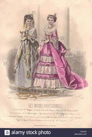bureau invers fashion parisian pink antique print 1869 stock