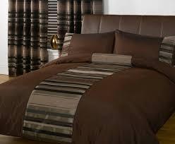 just contempo striped duvet cover set double brown amazon co uk