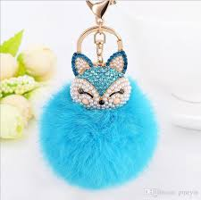crystal chain rings images Brand new crystal gold plated fox puffer ball key chain rings girl jpg