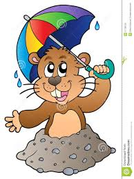 cartoon groundhog with umbrella royalty free stock photos image