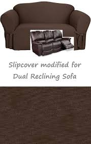 Sure Fit Dual Reclining Sofa Slipcover Reclining Sofa Slipcover Cotton Chocolate Sure Fit Recliner