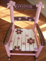 pink and brown rocking chair girls child rocker kid sized customized custom hand painted glider