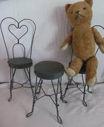 ice cream table and chairs vintage 3pc toy doll ice cream parlor set wire wood table 2 chairs
