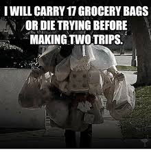 Grocery Meme - will carry 17 grocery bags ordietrying before making two trips