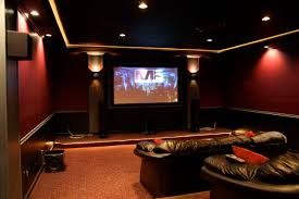 interior opulent home theater room decor with big screen and