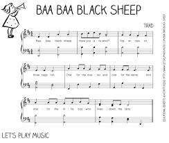 thanksgiving sheet music baa baa black sheep first nursery rhymes baa baa black sheep
