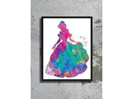 belle watercolor art print beauty beast illustration