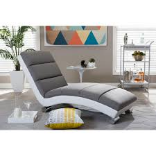 Upholstered Chaise Lounge Baxton Studio Percy Modern Gray Faux Leather Upholstered Chaise