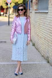 blue motorbike jacket lace dress and metallic pink motorbike jacket fashion and