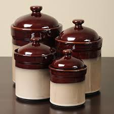 rustic kitchen canister sets overstock com sango brown 4 kitchen canister set