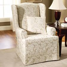 Slipcover Wing Chair Wingback Chair Slipcovers Without T Cushion Wing Slipcover Walmart