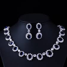 sapphire necklace set images High end banquet sapphire jewelry set micro inlay dark blue oval jpg