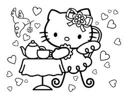 kitty tea party coloring