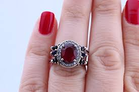 ring size 9 turkish handmade reversible oval ring ruby sapphire 925 sterling