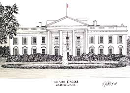 the white house pen and ink drawing by frederic kohli of the