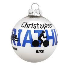 personalized triathlon glass ornament the loft