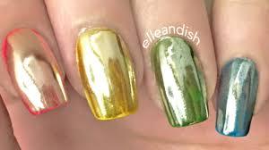 liquid skittle nails and holo mirror powder nails youtube