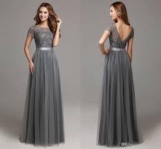 grey bridesmaid dresses 2016 grey modest lace tulle floor length women bridesmaid