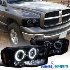 02 dodge ram headlights glossy piano black dodge 02 05 ram 1500 2500 tinted led projector