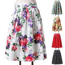 fashion women mid calf floral print vintage skirts elastic polka