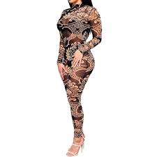 a m taupin am mesh rompers womens jumpsuit women tribal tattoo printing