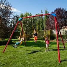 Backyard Swing Sets For Adults by Heavy Duty A Frame Metal Swing Set Primary Colors