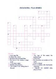 easy crossword puzzles about movies english teaching worksheets movie genres