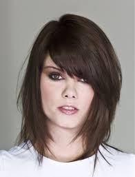 layered medium lenght hair with bangs shoulder length hairstyles with side bangs and layers new
