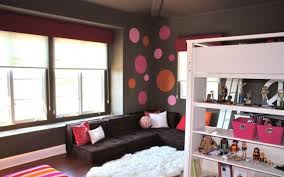 Grey White And Red Bedroom Ideas Grey Wall Theme And L Black Fabric Sofa On The Corner Connected By