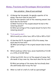 fractions and percentages with money word problems by biggles1230