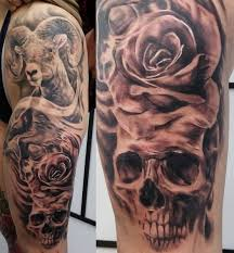 aries skull rose tattoo by tuomaskoivurinne on deviantart
