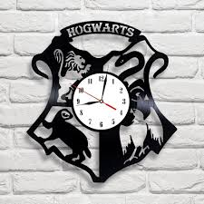 Harry Potter Bathroom Accessories Hogwarts Logo Harry Potter Design Vinyl Record Clock Home Decor