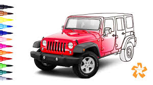 cars how to color jeep wrangler coloring pages for children