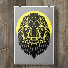 lion print lion print geometric animal on cool grey background u2013 stencilize
