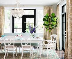 Settee At Dining Table White Farmhouse Dining Table With Light Green Bench Transitional
