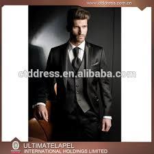 tailor made black coat pant three piece men suit and price dress