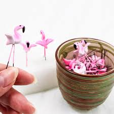 miniature pink flamingo clay bird lawn garden ornaments wire plant