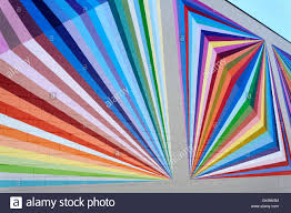 Exterior Wall Design Brightly Colored Geometric Designs Painted On The Exterior Wall Of