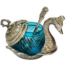 House Warming Wedding Gift Idea White Metal Duck Shaped Bowl Boontoon