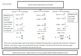 gcse maths revision resources convert a recurring decimal to a