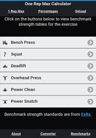 1 Rep Max Bench Press Chart The One Rep Max Calculator Apk Download Free Health U0026 Fitness