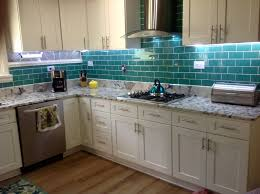 style of glass subway tile backsplash modern kitchen