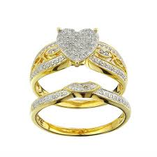overstock bridal sets 10k yellow gold 1 3ct tdw diamond heart bridal set free shipping
