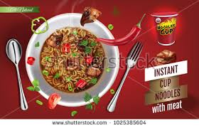 instant cuisine vector illustration instant cup noodles เวกเตอร สต อก
