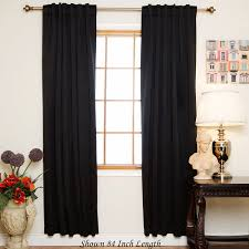 com black rod pocket energy saving thermal insulated blackout curtain 64 inch length pair home kitchen