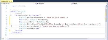 visual basic for loop building a hello world application with net core and visual basic
