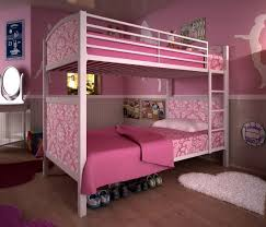 captivating design ideas using white loose curtains and superb design ideas using pink wall and rectangular white wooden bunk beds in pink mattress covers