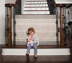 Child Safety Gates For Stairs With Banisters Grey Pinstripe Fabric Safety Gate