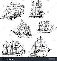 black white sketches sailing ships set stock vector 183692060