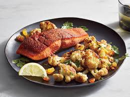 spice roasted salmon with roasted cauliflower recipe cooking light
